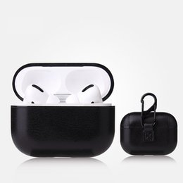 pouch for headphones UK - Luxury PU Leather Case for Airpods Pro Headphone Box Protector Bag Pouch Cover For Apple Earphone