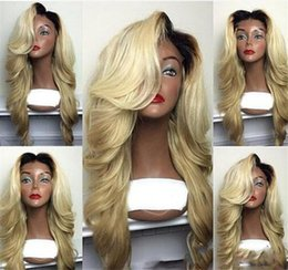 human hair wigs for white women 2019 - Full Lace Human Hair Wigs Blonde Ombre 1BT613 Peruvian Hair Body Wave Glueless Lace Front Human Hair Wig for Black White