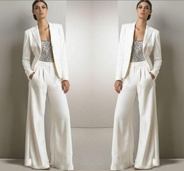 $enCountryForm.capitalKeyWord Australia - 2019 New Bling Sequins Ivory White Pants Suits Mother Of The Bride Dresses Formal Chiffon Tuxedos Women Party Wear New Fashion Modest