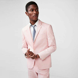 $enCountryForm.capitalKeyWord Australia - Custom Made Pink Man Blazer Jacket Business Coat Pants One Button Costume Homme Terno Masculino 2Piece Slim Fit Man Suit Mens Wedding Suits