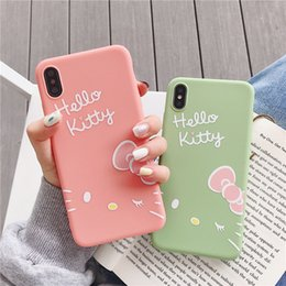 67b3ab472 Cute Hello Kitty Phone Case For iPhone 6 6S 7 8 Plus Case Cartoon Silicone  Soft TPU Case For iPhone X XR XS MAX 6 S Back Cover