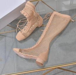f56af00698ee 2019 spring summer Designer Fashion nude BEIGE black suede leather with  mesh Adjustable Strap Lace-Up back zip knee high boots