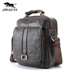 Cowskin Handbags Australia - Cross Ox Mens Genuine Leather Handbag Shoulder Bag For Men Natural Cowskin Men Bag Vintage Cowhide Crossbody Business Sl052m