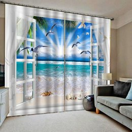 Discount decor curtains living room - Beach curtains Drapes Living room Bedroom Decor 2 Panels HooksWindow Curtains sun blue sky