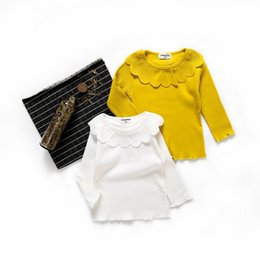 Yellow Shirt Girl NZ - Baby Girl Clothes Autumn 100% Cotton Girls Yellow T-shirt Tops Children Clothing Long Sleeve Tees Girls Wihte Ruffles Blouse