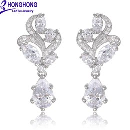 Wholesale Cubic zirconia Dangle Earrings for women hot sell Trend Flower type fashion Jewelry earrings for party girl