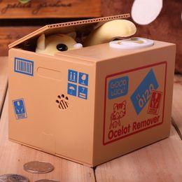 Coin Banks Wholesale Australia - Cat Panda Automatic Storage Coin Bank Grey Yellow   White Cat Money Box 12x10x9cm Money Saving Box Moneybox Gifts For Kids