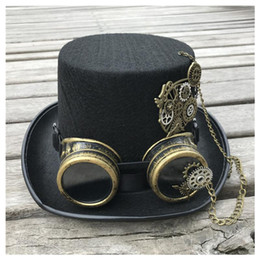 black magic hat NZ - 2020 Fashion Men Women Retro Handmade Steampunk Top Hat With Gear Glasses Stage Magic Hat Top Cosplay Size 57CM