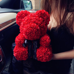 lovers gift flower UK - 25cm Artificial Flower Teddy Bear Valentines Romantic Flower Bear Cute Decorations Handmade Gift Box Rose Bear Mothers Day Gift BH1010 TQQ