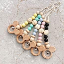 Pram rattles online shopping - Ins hot sale silica gel Baby pram toy Wooden Bell Stick Shaker Rattles newborn Pram Handle Baby Gift newborn toy A8340
