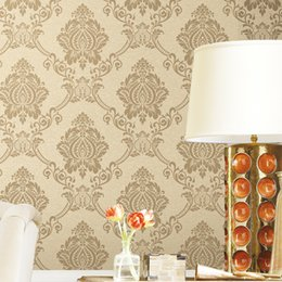 housing Australia - Wholesale beige color House Scenery soft feeling Non-woven Wallpaper TV Background Wallpaper Embossed 3D Three-Dimensional Flock Wallpaper
