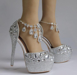 80dad20529ea 2019 Sexy Sliver Crystal Wedding Bridal Shoes High Heels 14cm 5cm Pumps  Bling For Prom Evening Party Dress Rhinestones Beaded