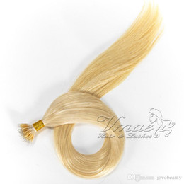 nano ring virgin hair extensions 2019 - Straight Double Drawn 613 blonde 100g 10 to 30 Inch Cuticle Aligned Prebonded Human Virgin Russian Nano Ring Hair Extens