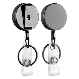 key ring pack UK - 2 Pack Mini Heavy Duty Retractable Badge Holder Reel, Metal ID Badge Holder with Belt Clip Key Ring for Name Card Keychain(Small