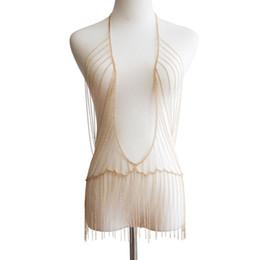 $enCountryForm.capitalKeyWord UK - 2019 New Necklace Chain Fashion Punk Body Chain Tassel Chain Multilayer Body Jewelry Silver Color Women