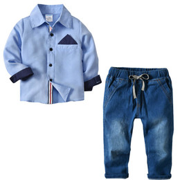Discount jeans kids suspenders boys - childrens boutique clothing Spring Autumn long sleeve Shirt+Jeans suspender trousers Boys Clothing Sets boys Clothes kid