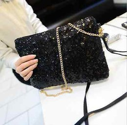 Wholesale New Women Ladies Glitter Sequins Handbag Sparkling Party Evening Envelope Clutch Bag Wallet Tote Purse