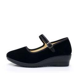 $enCountryForm.capitalKeyWord NZ - New Women Flock Wedges Shoes Mary Jane Buckle Pumps Comfortable Round Toe Female Platform Fashion Footwear Casual Ladies Shoes
