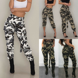 Wholesale cargo pants womens for sale - Group buy Spring Autumn Casual Womens Camo Cargo Trousers Army Combat Camouflage Jeans Fashion High Waist Long Pants