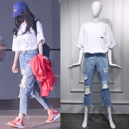 Straight t Shirt online shopping - Light colored jeans with holes and loose casual jeans white T shirt