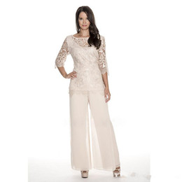 plus size mother groom pant suits UK - High Quality Lace Mother Of The Bride Pant Suits Sheer Bateau Wedding Guest Dress Two Pieces Plus Size Chiffon Mothers Groom Dresses Z12