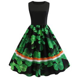 552956043 Hot Women St Patrick's Day Sleeveless Casual Party Prom Swing Dress Drop  Shipping Vestido Navidad Vintage Dress for girls #15