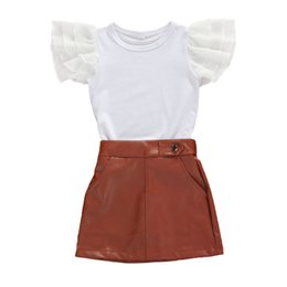 Discount girls leather pu skirt Fashion Summer Children Girls Ruffles Sleeve T-shirt+PU Leather Skirts 2PCS Kids Suit Fashion 1-6T Children Tracksuits C