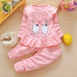 Cute Outfits For Spring Australia - good quality 2019 baby girl clothing set spring autumn toddler Outfit Tracksuit cartoon sweatshirt+pants clothes for girls tracksuit