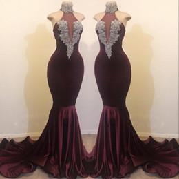 Black Plum Prom Dress Australia - Elegant High Neck Plum Mermaid Prom Party Dresses Sleeveless Beading Crystal Burgundy Velvet Eveing Wear Gowns