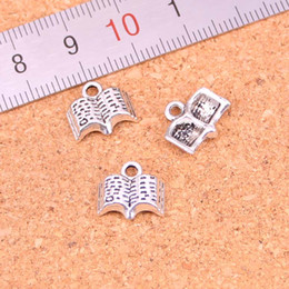 making books UK - 163pcs Charms open Holy Bible book Antique Silver Plated Pendants Making DIY Handmade Tibetan Silver Jewelry 11mm