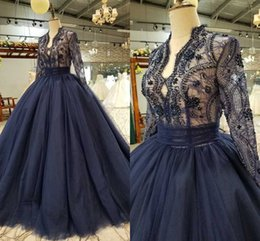 $enCountryForm.capitalKeyWord Australia - Bling Ball Gown Princess Prom Dresses Illusion Long Sleeve Lace Crystal Beading V-neck Hollow Back Evening Dresses Formal Party Dress 2019