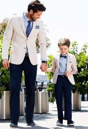 kids party suits NZ - Beige Blazer Navy Blue Pants Casual Father And Son Suits Fashion Family Matching Clothing Custom Made Boys Kids Prom Party Suits