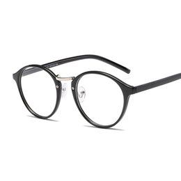 80b68cb44a90 New fashion round frame glasses frame Korean version of men and women  decorative flat mirror literary student glasses frame.