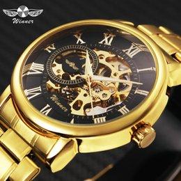 Man Watches Golden Australia - en's Watches Mechanical Wristwatches WINNER Golden Top Brand Luxury Mechanical Watch Men Stainless Steel Strap Skeleton Dial Fashion Busi...