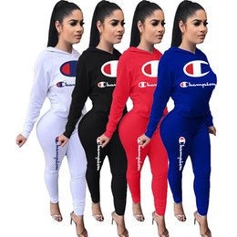 $enCountryForm.capitalKeyWord NZ - Champion Letters Women Clothing 2 Piece Tracksuit Long Sleeve t shirt Hoodies and Pants Leggings Gym Sports Suit Autumn Brand Outfits C8103