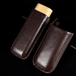 tobacco cutter Australia - 1pcs Cigar leather pouch Humidor tobacco cigarette pipe double Cigar tube travel carrying Case Holder 2 cigar Cutter knife storage pocket