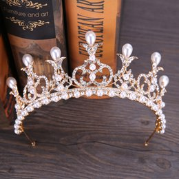 $enCountryForm.capitalKeyWord Australia - New Noble Queen Crown Hairwear Silver Rhinestone Pearl Crowns Tiaras Headband Bride Wedding Hair Jewelry Headdress