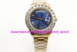 $enCountryForm.capitalKeyWord Australia - Luxury Watches hot sale Roma 18ct 44mm Day-Date automatic movement sapphire Big Diamonds Blue face gold Stainless men Wristwatch