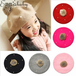 Discount cotton knit beanies wholesale kids - 2019 New Years Fashion Infant Kids Child Girls Hats Pearl Braid Beanie Hat Winter Warm Knit Fur Pom Bobble Cap