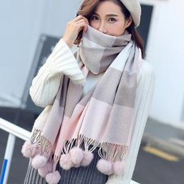 b0fb1c3550718 Scarf wrapS ShawlS online shopping - Women Plaid Scarf Plaid Ball Scarf  Shawl Grid Tassel Wrap