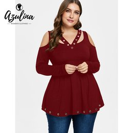 c24112c60135d AZULINA Plus Size Cold Shoulder Grommet T-Shirt Women V Neck Long Sleeve T  Shirt Ladies Tops Fall Spring Solid Color T-Shirts Y18121901