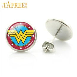 Earring Heroes Australia - TAFREE Wonder Women Super hero Movie stud earrings fashion Earrings lovely suit summer romantic cartoon woman jewlery NS426