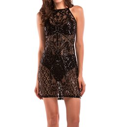 Sequin Sexy Clothes UK - Women Sequins Bodycon Party Dress Hot Black Nightclub Dresses Luxury Backless Party Club Wear Female Sexy Beachwear Clothes