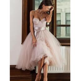 Short Wedding Gowns Australia - Short Informal Strapless Wedding Dress 2019 Beach Bride Dress Knee Length Hot Sale Pink Tulle Wedding Gowns Custom Made