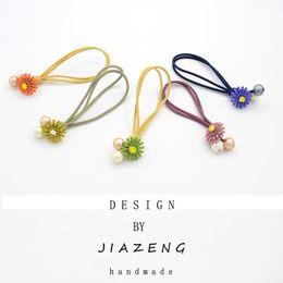 Discount hair designs headdresses - New Original design Princess Flower Color Elastic Hair Bands Headdress Children Hair Ropes Girls Accessories ladies hots