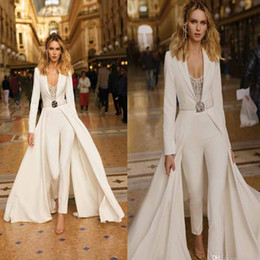 long colorful jumpsuits NZ - New Fashion Jumpsuit Wedding Dresses With Overskirt Elegant Long Sleeve Country Boho Wedding Gowns Sweep Train Satin Bohemain Bridal Dress