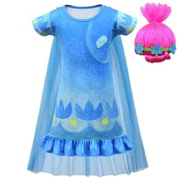 kids carnival clothing Australia - Summer Christmas Carnival Costume Trolls Wig Kid Poppy Dress Girls Billy clothes Children Vaiana Princess Party birthday Vestido