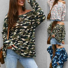 $enCountryForm.capitalKeyWord NZ - New Fashion Sexy Womens Long Sleeve One Shoulder Camouflage Camo Knitted Tops T-Shirt Blouse Size S-XL
