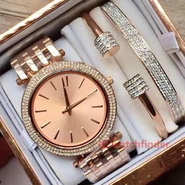Bronze jewelry Box online shopping - Rose Gold Womens Diamond Iced Out Ladies Watch M3192 M3190 Original Box Luxury Designer Wristwatches Watches Bracelet Chains