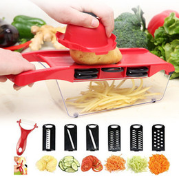 $enCountryForm.capitalKeyWord Australia - 6 in 1 Mandoline Slicer Cutter Chopper and Grater Interchangeable Stainless Steel Multifunctional Kitchen Tool for Fruits Potato Onion